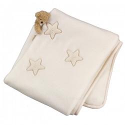 Manta raschel bordada Minicuna - Estrellas beige de Belino