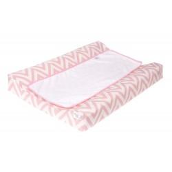 Colchon Cambiador tejido plastificado Bañera - Comoda - Chevron rosa