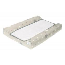 Colchon Cambiador tejido plastificado Bañera - Comoda - Estrellas gris