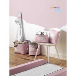 Cambiador tejido plastificado Bañera - Comoda mod. Motitas rosa