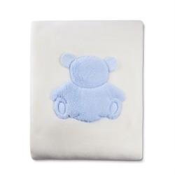 Manta raschel bordada Minicuna - Lucas azul  Belino